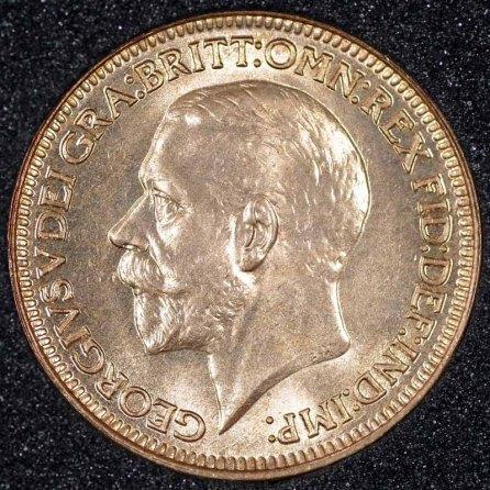 1928 George V Farthing Obv