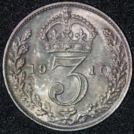 1910 Edward VII Threepence Rev 800