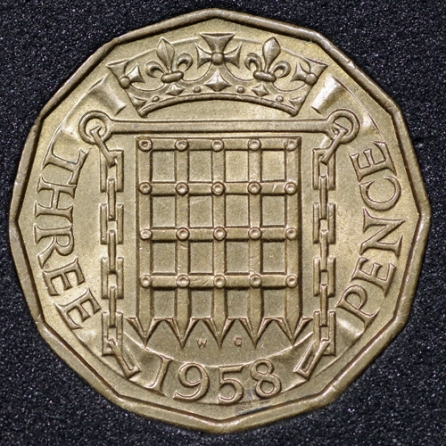 1958 Threepence Rev