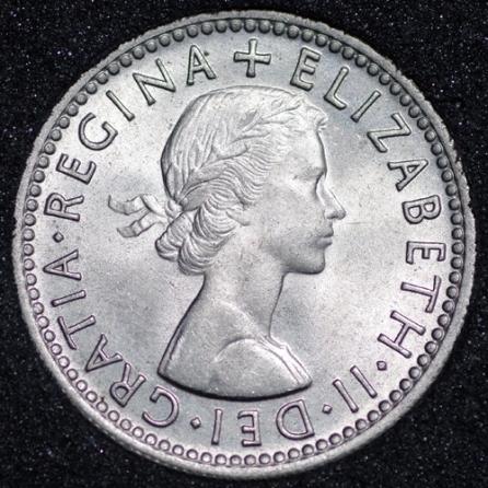 1955 Elizabeth II Sixpence 1+C Obv