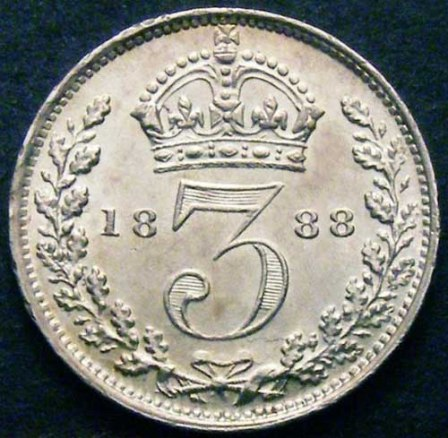 1888 Threepence 3d Victoria Rev Website