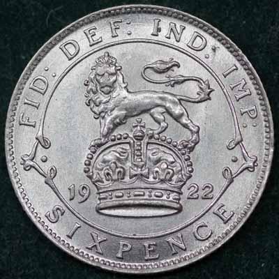 1922 George V Sixpence Rev 400