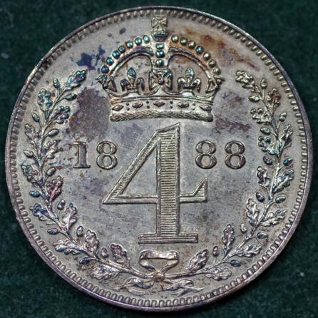 1888 Maundy 4d Rev 2nd Set