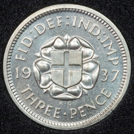 1937 George VI PROOF Threepence Rev