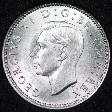 1939 George VI Sixpence Obv