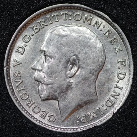 1914 George V Silver Threepence Obv