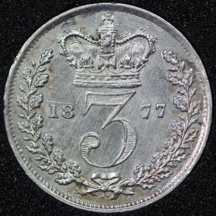 1877 Victoria Silver Threepence Rev