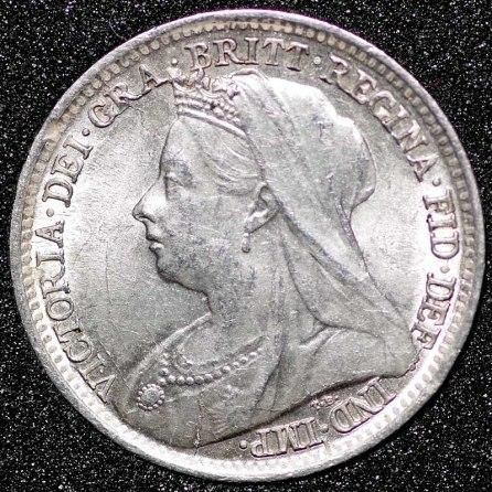 1897 Victoria Silver Threepence Obv