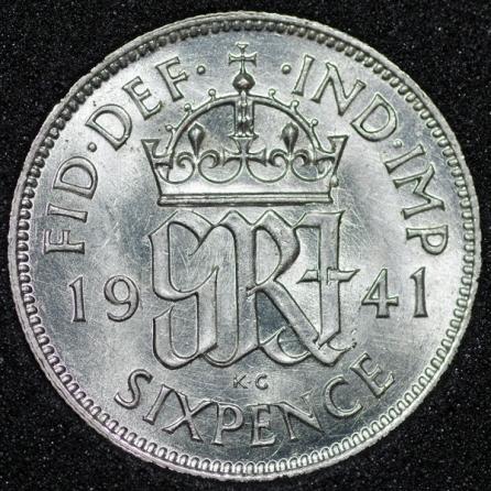 1941 George VI Sixpence Rev