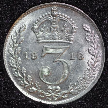 1918 George V Silver Threepence Rev
