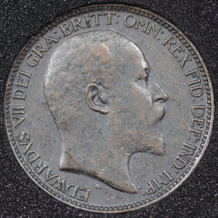 1910 Edward VII Farthing DARKENED Obv