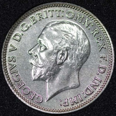 1930 George V Sixpence Obv