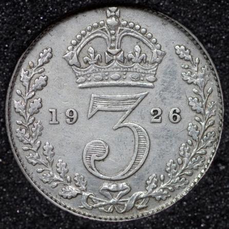 1926 George V Silver Threepence Rev