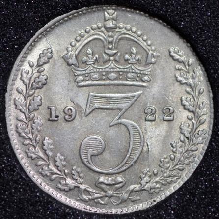 1922 George V Silver Threepence Rev