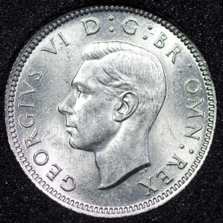 1943 George VI Sixpence Obv