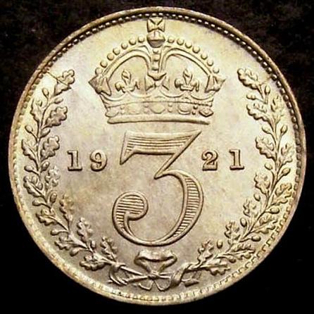 1921 Threepence CGS 78 Rev