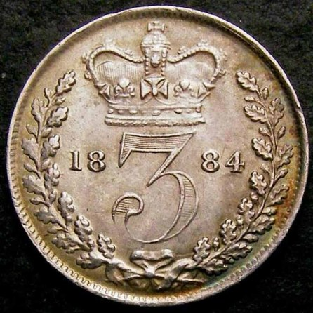 1884 Threepence Rev LC 800