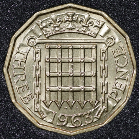 1963 Threepence Rev