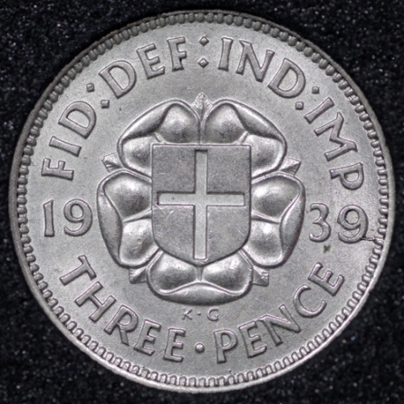 1939 George VI Silver Threepence Rev