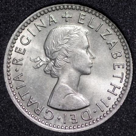 1956 Elizabeth II Sixpence Obv