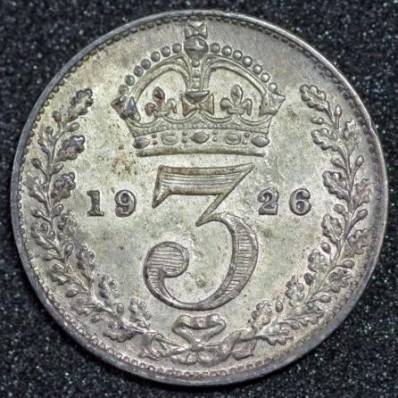 1926 George V Silver Threepence Rev 1st