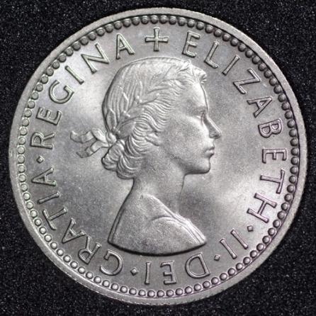 1960 Elizabeth II Sixpence Obv