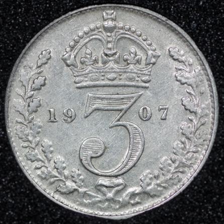 1907 Edward VII Silver Threepence Rev