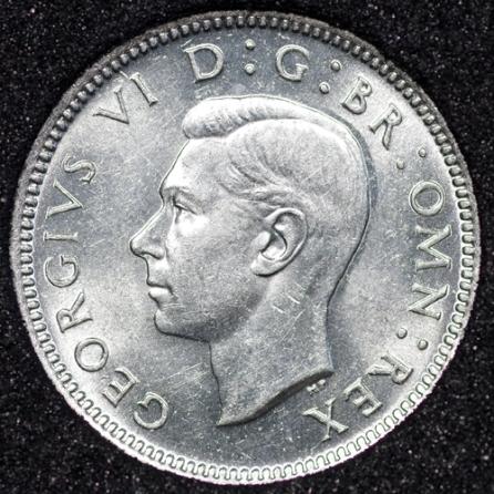 1944 George VI Sixpence Obv