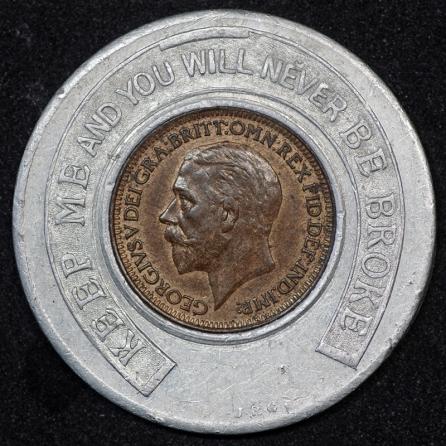 1928 George V Encased Farthing Kings Hall Stourbridge 1st Obv