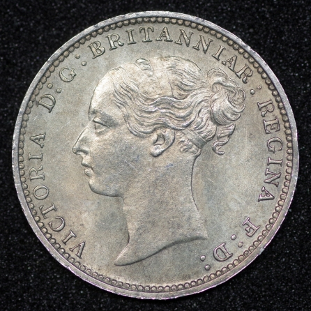1887 Threepence 3d Victoria Young Head Obv