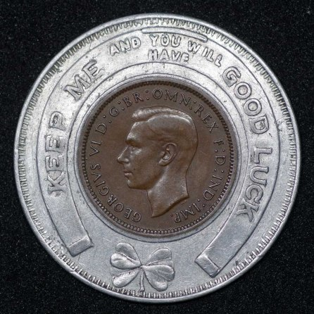 1939 George VI Encased Farthing American Swiss Watch Co Obv