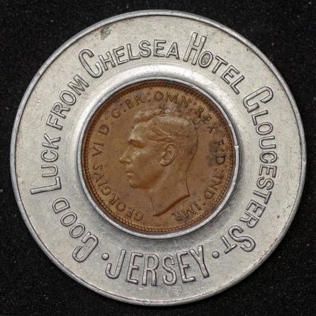 1943 George VI Encased Farthing Chelsea Hotel 1st Obv